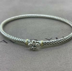 David Yurman 3mm Cable Bracelet Fleur de Lis 18k